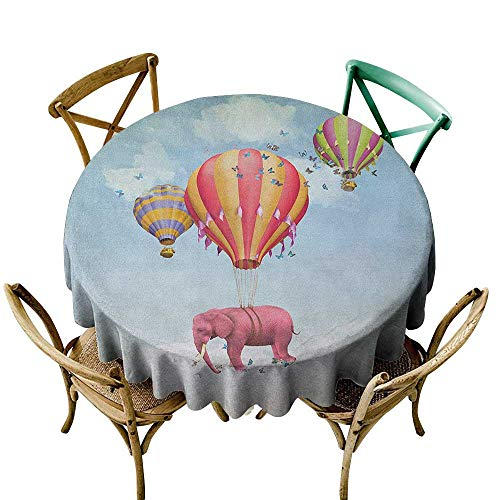 Wendell Joshua Pink Tablecloth 48 inch Elephant,Pink Elephant in The Sky with Balloons Illustration Daydream Fairytale Travel, Multicolor Indoor/Outdoor Spillproof Table Cloth - Lilac Daydream