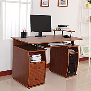 HOMCOM Wooden Office Computer PC Table Writing Desk Home Furniture Workstation w/Drawers Shelves Keyboard Shelf Walnut