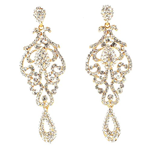 Large Pageant Austrian Crystal Rhinestone Chandelier Dangle Earrings Prom E2090 2 Colors Gold or Silver (Gold)