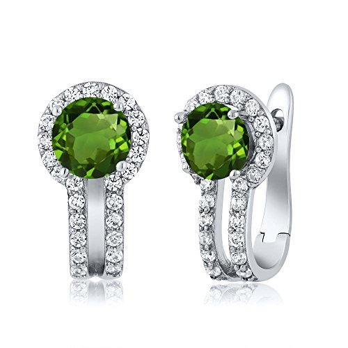 Chrome Diopside - Green Chrome Diopside and White Created Sapphire 925 Sterling Silver Women's Earrings, 1.50 Ctw Round Cut