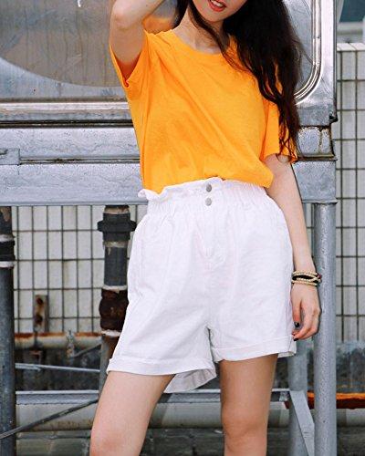 Jeans Blanco Slim Casual Mujer Talle Anchos Alto Super Pantalones Vaqueros Cortos pzwOxv