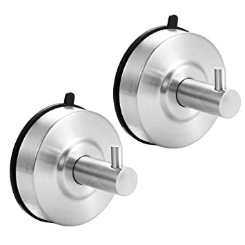 2 Pack Suction Hooks Super Powerful Lock Clear Plastic Smooth Wall Hangers Vacuum Seamless Sucker Hook Ultra Heavy Duty Suction Cup Hooks for Bathroom Kitchen Window Bags Coats Caps Towel