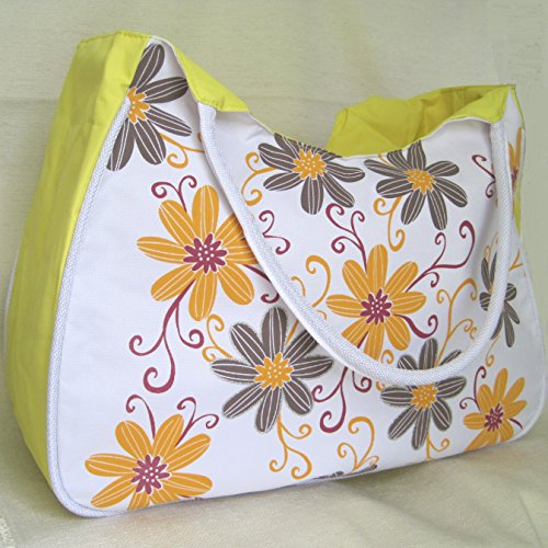 52x 33x amp; Orange Grey with Beach useful H 21cm purse with Flowers LARGE internal Bag D Yellow W wxfgqPU