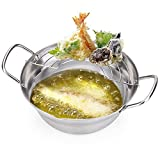 MyLifeUNIT Tempura Fryer Pot, Stainless Steel Deep Fry Pan with Drainer, 8 Inch (20 cm)