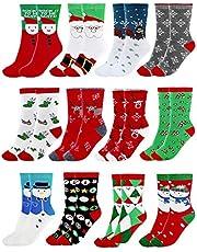 CHIC DIARY Weihnachtssocken Bunte Socken Baumwolle Damen Mädchen Strümpfe Set Cartoon Christmas Motiv Süß Weihnachtsgeschenke