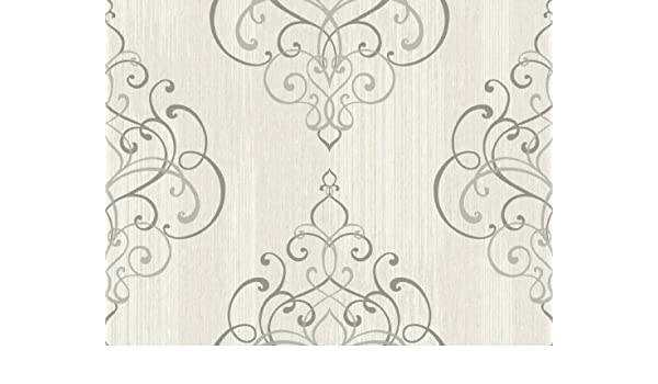 Wallpaper Designer Textured Ink Gray Scroll Damask on Light Gray Faux