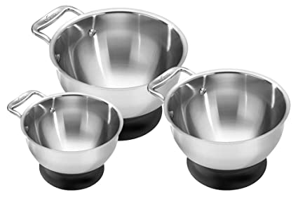 All-Clad MBSET Stainless Steel Dishwasher Safe Mixing Bowls Set Kitchen Accessorie 3-Piece Silver