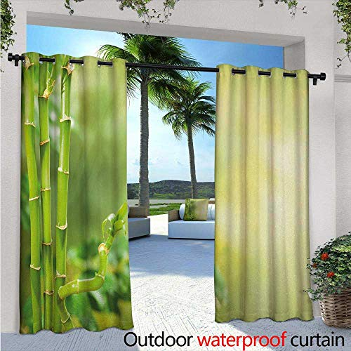 "Spa Outdoor- Free Standing Outdoor Privacy Curtain Green Beautiful Lush Asian Bamboos with other Tree Braches and Bushes Image for Front Porch Covered Patio Gazebo Dock Beach Home W120"" x L84"" Green"