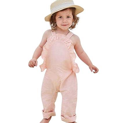 44a46cf93846 Franterd Baby Girls Strap Rompers for Toddler Kids Summer Harem Pants  Overalls Sleeveless Ruffles Jumpsuits (