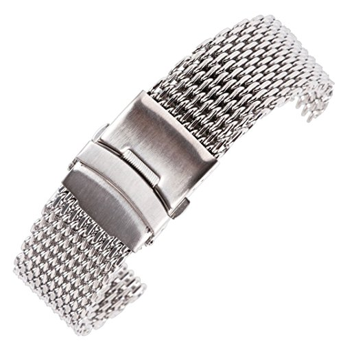 18mm Deluxe Inox Steel Watch Mesh Band Strap for Men's Watch in Silver with Solid Safety Folding (Inox Soap)