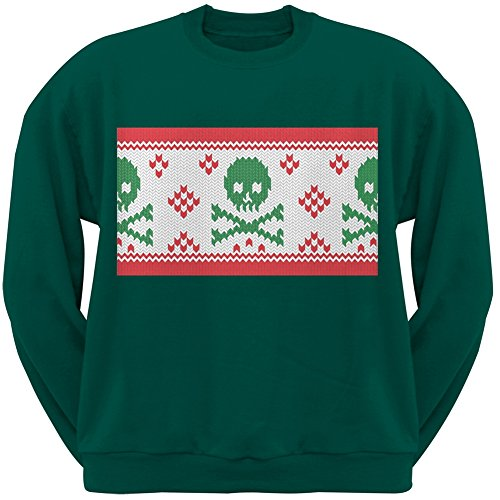 Knit Skull And Crossbones Ugly Christmas Sweater Dark Green Adult (Skull And Crossbones Knit)