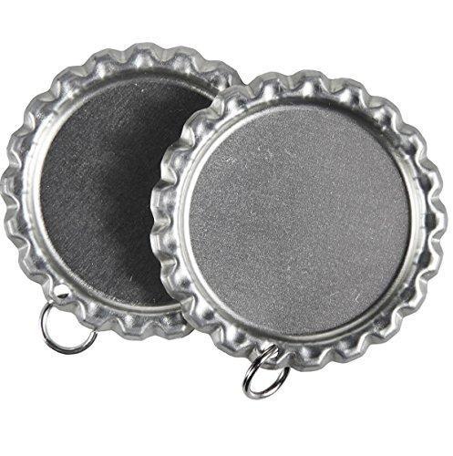 100 Flattened Flat Silver Linerless Bottle Caps with Holes plus 8mm Split Rings, Flattened Chrome Bottle caps with split rings (100PCS)