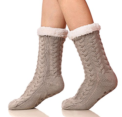 SDBING Women's Winter Super Soft Warm Cozy Fuzzy Fleece-lined Christmas Gift With Grippers Slipper Socks (Light Gray)