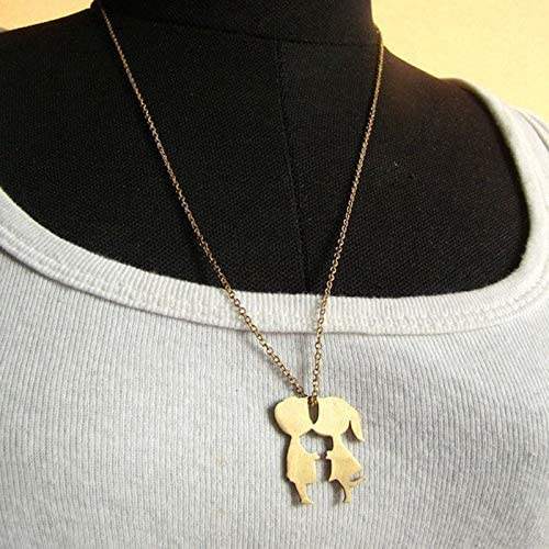 Davitu Boys Girls Kissing Pendant Chain Necklaces Goldren Color Women Men Necklace Jewelry Valentine Days Gift