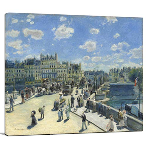 Heronear Pont Neuf, Paris by Pierre Auguste Renoir - Canvas Art Wall Decor Famous Painting Reproduction Print- Framed Ready to Hang -24