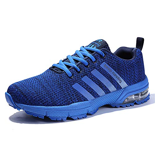 (KUBUA Mens Running Shoes Casual Indoor Fitness Outdoor Road Walking Athletic Jogging Footwear Fashion Sneakers Tennis Sports 12.5 B / 11 D K Blue)