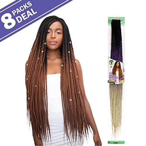 (MULTI PACK DEALS! Janet Collection Synthetic Hair Crochet Braids 3S Havana Long Box Braid 36