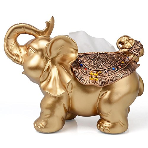 LPY-Tissue Box, Retro, Elephant Style, Creative Home, Handicrafts, Living Room ,Bedroom,Ornament 301724cm , Gold ()
