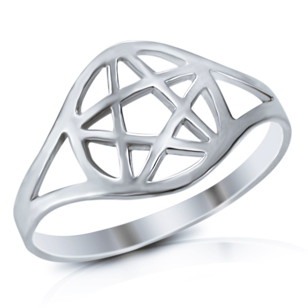 925 Sterling Silver Wicca Pentacle Ring - Size 7 by Mimi Silver