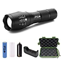PeakPlus Brightest Zoomable Adjustable Focus 5 Modes, Water Resistant LED Tactical Flashlight, Outdoor Torch with Rechargeable 18650 Lithium Ion Battery and Charger