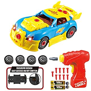 Think Gizmos Take Apart Toy Racing Car - Construction Toy Kit for Boys and Girls Aged 3 4 5 6 7 8 - Build Your Own Car Kit Exclusive Version with Easy Access Power Switch STEM Toy