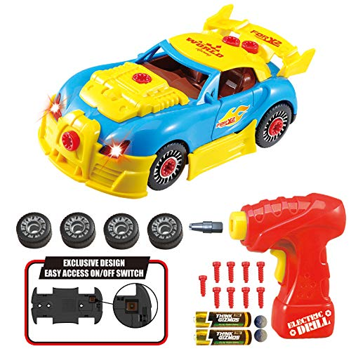 Think Gizmos Take Apart Toy Racing Car Set - Lights up and Real Engine Sounds - Exclusive Version - 30 Piece Pretend Play Car Set