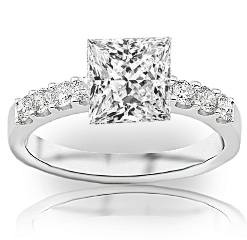 Prong Si2 Clarity Diamonds - 1 Carat Princess Cut Classic Prong Set Diamond Engagement Ring (D-E Color, SI1-SI2 Clarity)
