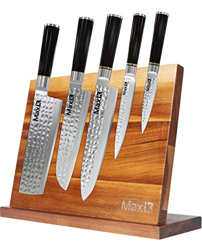 """Max K Magnetic Knife Block without Knives - Utensil Storage Rack with Strong Magnets - Solid, Stable and Thick Wooden Mount Holder - Butcher, Chef, Kitchen Countertop Display Board - 10.8""""x3.9""""x8.3"""""""