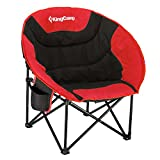 KingCamp Moon Saucer Camping Chair Steel Frame Folding Padded Round Portable Stable with Carry Bag (Red&Cup Holder)