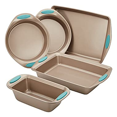 Rachael Ray(r) Cucina Nonstick Bakeware 5-Piece Set, Latte Brown with Agave Blue Handle Grips