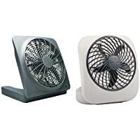 O2COOL 10-inch Portable Fan with AC Adapter & 5-inch Portable Fan, Grey