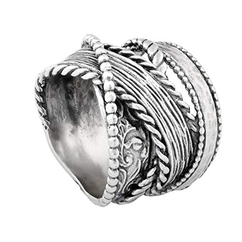 (Paz Creations. 925 Multi Textured Highway Ring)