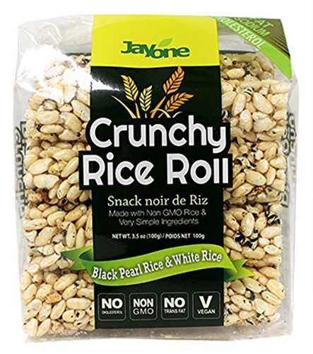 Jayone Crunchy Rice Rolls, Black Pearl/White Rice, 3.5 Ounce (Pack of 6) -