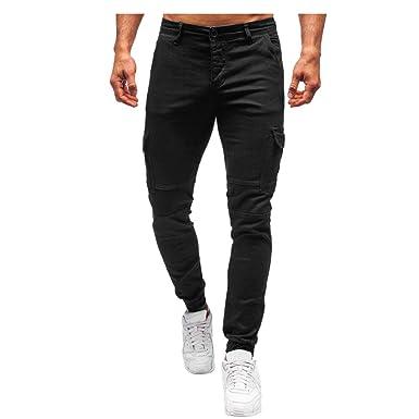 Pantalones para Hombre SUNNSEAN Bolsillos Pantalones Moda ...