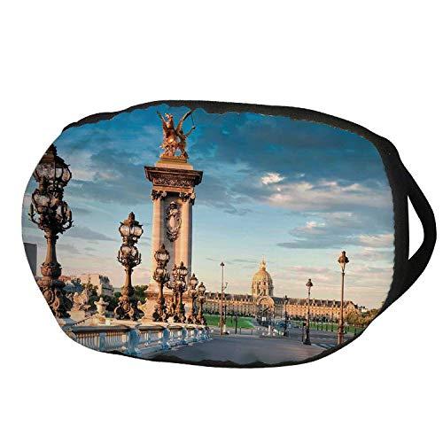 Fashion Cotton Antidust Face Mouth Mask,Paris Decor,Pont Alexandre III Bridge 1896 Spanning the River Seine Ornate Art Nouveau Lamps,for women & men ()