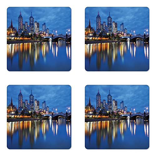 Lunarable Australia Coaster Set of Four, Skyline of Melbourne City with Reflections on Water at Night with Dramatic Sky, Square Hardboard Gloss Coasters for Drinks, Multicolor (Cafe Melbourne Furniture Outdoor)