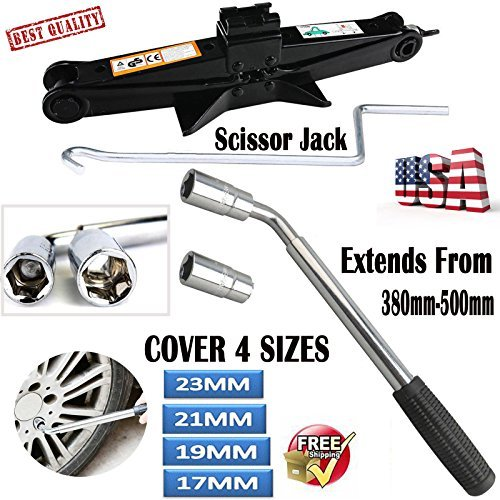 Speed Conversion 4 (Autobaba Scissor Jack Wind Up Lifter 2 Tonne with Speed Handle and 17/19/21/23mm 4 Ways Extendable Wheel Wrench Tire Nut Wrench Telescopic for Car Van)
