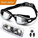 Waterproof Swim Goggle, Wide View Swimming Goggles Anti Fog UV Protection Triathlon Swim Goggles for Adult Men Women Youth, Summer Swim Glasses Set with Nose Clip Ear Plugs and Free Protection Case