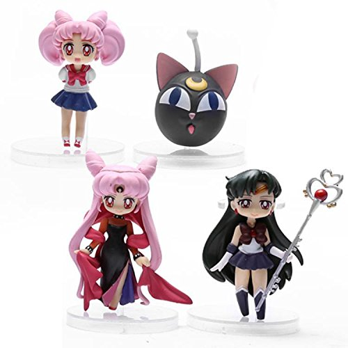 Anime Sailor Moon Sailor Pluto Sailor Chibi moon Small Lady Black Lady PVC Action Figure Toys 8cm 4pcs/set SAFG028