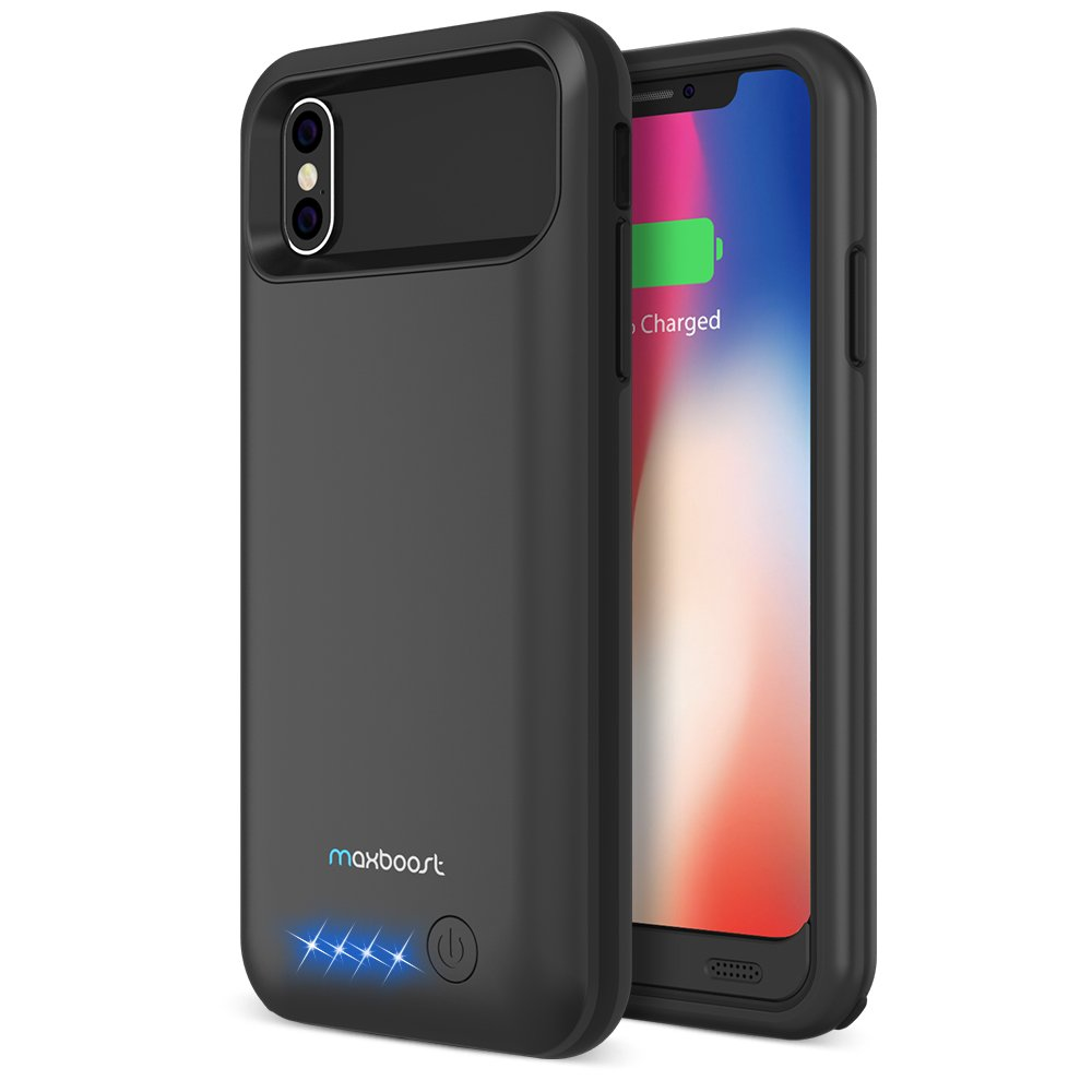Maxboost iPhone X Battery Case [Atomic Power] Case for iPhone x 2017 4000mAh Rechargeable Juice Charging Case Portable Extended Backup Power Cover [Not Support Wireless Charger](Apple Certified Part)