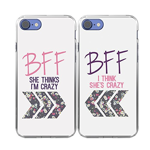 amazon com iphone 7 case ttott 2x cases floral best friend coupleiphone 7 case ttott 2x cases floral best friend couple cases new fashion matching bff