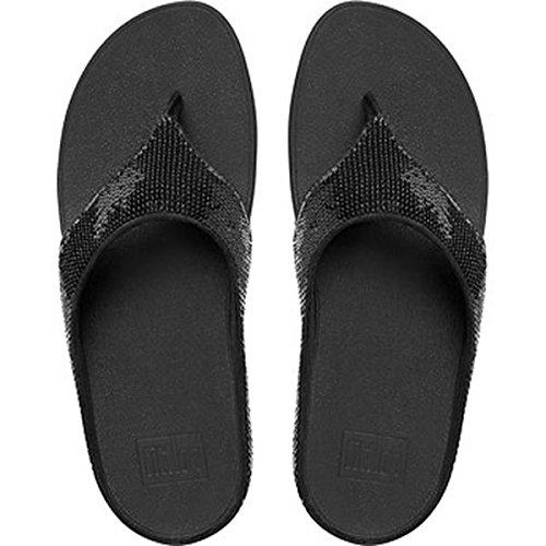 FitFlop Ringer Sequin Toe-Post Damen Sandalen Schwarz  37 EU|Black
