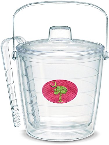Tervis 1061865 South Carolina Flag Pink and Green Insulated Ice Bucket and Tongs with Emblem and Clear Lid - Boxed, 87oz