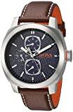 HUGO BOSS Men's 'Cape Town' Quartz Stainless Steel and Leather Casual Watch, Color:Brown (Model: 1550027)
