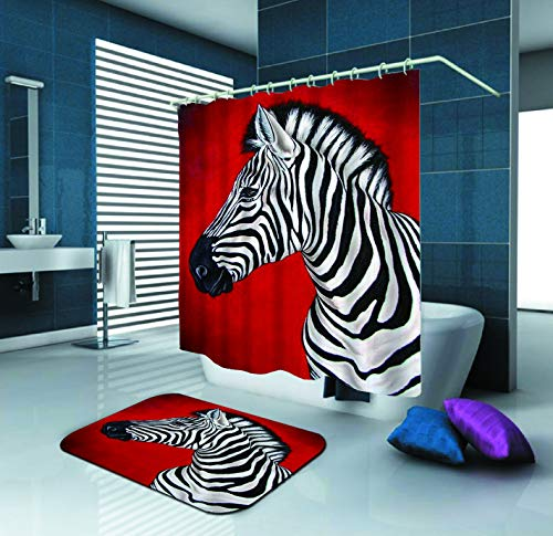 SARA NELL Shower Curtain,Zebra Red,72X72In Polyester Fabric Shower Curtain Set with 15.7X23.6In Flannel Non-Slip Floor Doormat Bath -