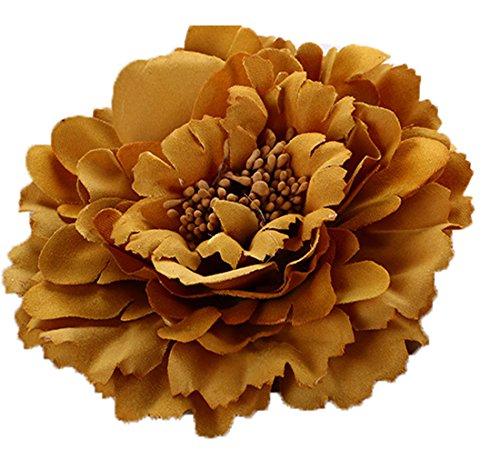 Floral Fall Peony Flower Hair Clip Flamenco Dancer Pin up Flower Brooch HC-01 (Khaki)