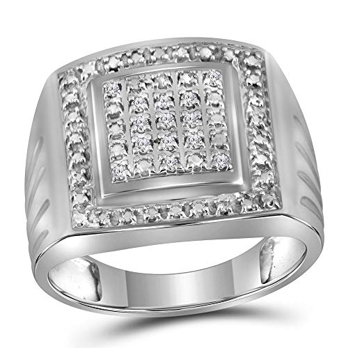 (Dazzlingrock Collection Sterling Silver Mens Round Diamond Square Frame Cluster Ring 1/10 Cttw)