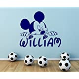 """Personalized Name Wall Decal Mickey Mouse Decals Cartoon Sticker Boy Nursery Kids Room Bedroom Home Decor (22' x 24"""")"""