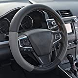 BDK ACDelco Compatible Car Steering Wheel Cover Replacement Cover for 14.5 to 15.5 Wheel, Perforated Synthetic Leather (Two Tone Black/Gray)