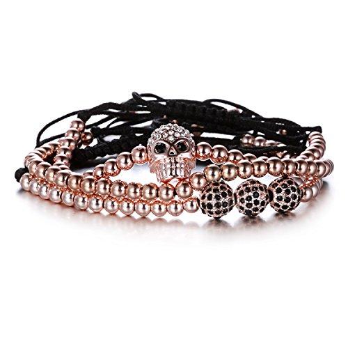Rinhoo Unisex Handmade Black Rope Beaded Adjustable Wrap Bracelet Set of 3(Rose Gold)